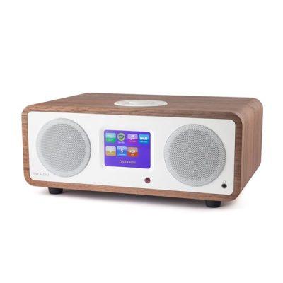 Tiny Audio Stereo DAB/DAB+/Internett radio i walnut/white sett forfra